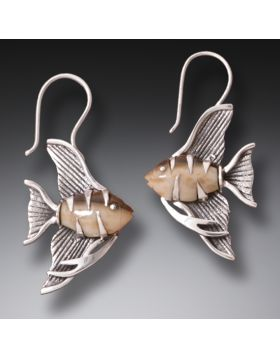 Fossilized Walrus Tusk Ivory Angelfish Jewelry, Handmade Silver -Angel Fish Earrings