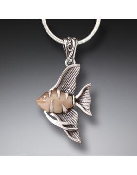 Fossilized Walrus Tusk Ivory Angelfish Jewelry, Handmade Silver - Angel Fish Necklace