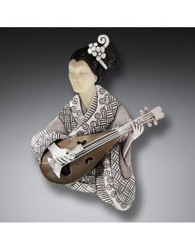 Fossilized Walrus Ivory and Mammoth Ivory Geisha Pin or Pendant, Handmade Silver - Shamisen Player