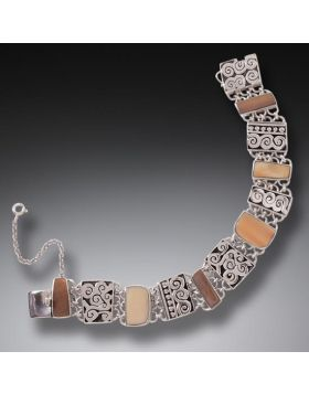 Fossilized Walrus Ivory Bracelet in Handmade Silver -Spiral Design