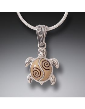 Mammoth Ivory Turtle Necklace Silver, Handmade - Baby Turtle