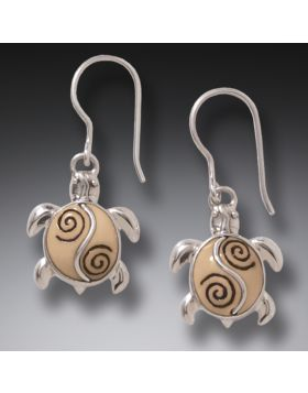 Mammoth Tusk Ivory Turtle Earrings Silver, Handmade - Baby Turtles