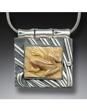 Fossilized Walrus Ivory Locket, Handmade - Frog Locket
