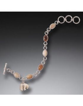 Fossilized Walrus and Mammoth Ivory Bear Charm Bracelet, Handmade Silver - Zuni Bear