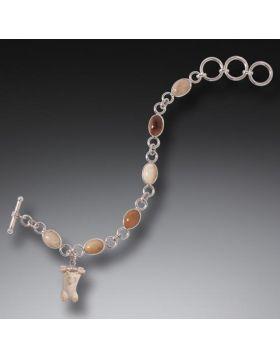 Mammoth Ivory Bear Charm Bracelet, Handmade Silver - Hanging Bear