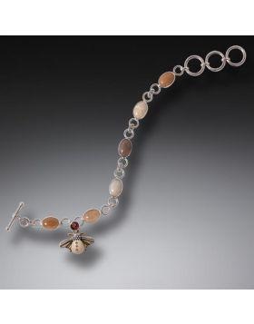 Fossilized Walrus Tusk Garnet Bee Charm Bracelet, Handmade - Silver Bee Charm