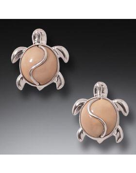 Fossilized Walrus Ivory Silver Sea Turtle Earrings, Handmade - Turtle Studs