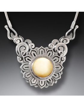 Mammoth Ivory Lotus Necklace Silver, Handmade (includes chain) - Lotus Mandala