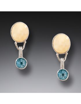 Fossilized Walrus Ivory Blue Topaz Drop Earrings Silver, Handmade - Interchangeable