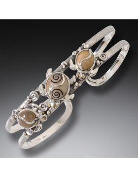 Fossilized Walrus Ivory Turtle Cuff Bracelet, Handmade Silver - Turtle Dance