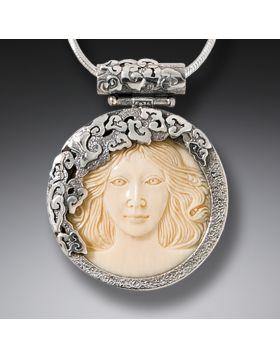 Mammoth Jewelry Ivory Aphrodite Pendant, Handmade Silver - Aphrodite