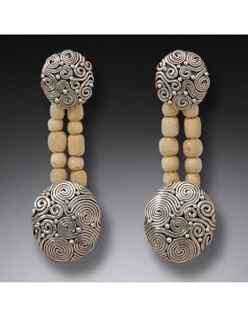 Fossilized Walrus Ivory Bead Earrings, Handmade Silver - String Theory II