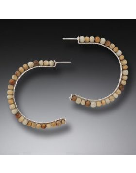 Mammoth Ivory Hoop Earrings, Handmade Silver, Large - Ancient Circles