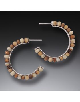 Fossilized Walrus Ivory Hoop Earrings, Handmade Silver, Medium - Ancient Circles