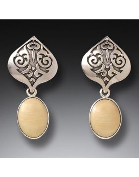 Mammoth Tusk Ivory Silver Lotus Earrings, Handmade - Ivory Lotus