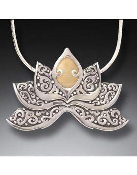 Mammoth Tusk Ivory Lotus Necklace Silver, Handmade - Ivory Lotus