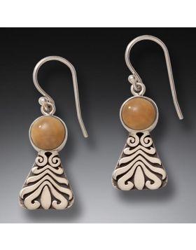 Fossilized Walrus Tusk Motif Earrings, Handmade Silver - Wave Motif