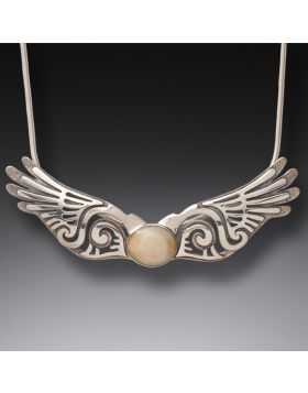 Fossilized Walrus Ivory Silver Wings Pendant, Handmade - Wings