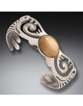 Fossilized Walrus Ivory Wings Bracelet, Handmade Silver - Wings