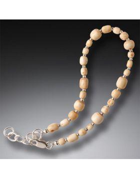 Mammoth Tusk Ivory Bead Bracelet, Handmade Silver - Ancient Runes