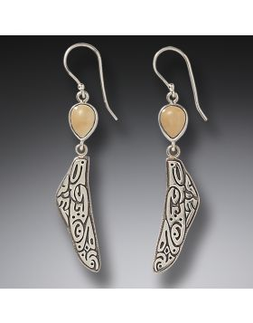 Fossilized Walrus Ivory Dragonfly Wing Earrings, Handmade Silver - Tribal Wings