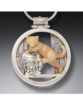 Mammoth Ivory Cat Pendant Silver, Handmade - Mischief