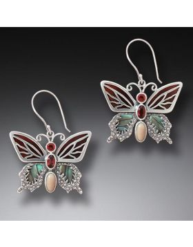 Paua Jewelry Garnet Butterfly Earrings with Black Mussel and Fossilized Ivory - Transition II