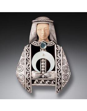 Fossilized Walrus Tusk Moon Goddess Necklace, Handmade Silver - Moon Goddess