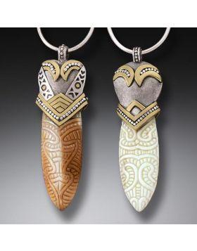Handmade Silver Fossilized Walrus Ivory Maori Design Pendant Necklace - Maori Spear