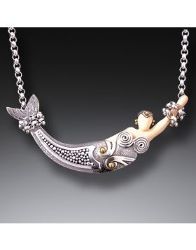 Mammoth Jewelry Silver Mermaid Pendant with 14kt Gold Fill - Mermaid