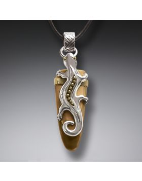 Fossilized Walrus Tusk Silver Gecko Pendant with 14kt Gold Fill, Handmade - Gecko