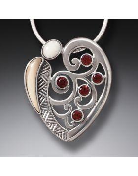 Fossilized Walrus Ivory Silver Garnet Pendant, Handmade - Heart Song