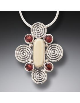 Fossilized Ivory Garnet Silver Necklace, Handmade - Spiral Energy