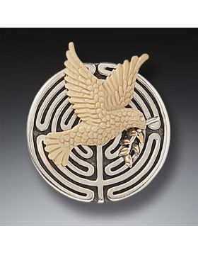 Mammoth Tusk Ivory Peace Bird Necklace or Pin, 14kt Gold Fill and Handmade Silver - Peace