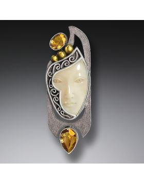 Enigma Pendant or Mammoth Ivory Pin, Citrine and Handmade Silver - Enigma