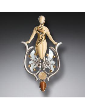 Fossilized Walrus Ivory Mother of Pearl Pendant with 14kt Gold Fill, Handmade Silver - Emergence