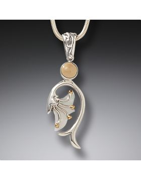 Fossilized Walrus Tusk Silver Mother of Pearl Necklace, 14kt Gold Fill - Emergence