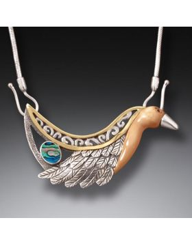Fossilized Walrus Ivory Paua Necklace, 14kt Gold Fill, Handmade Silver (includes chain) - Firebird Necklace