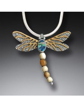 Silver Dragonfly Pendant Paua Jewelry with Mammoth Tusk Ivory, 14kt Gold Fill - Dragonfly II