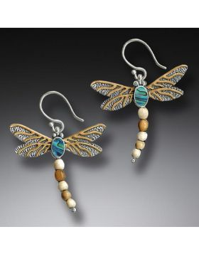 Mammoth Ivory Dragonfly Earrings Silver with Paua and 14kt Gold Fill - Dragonfly II