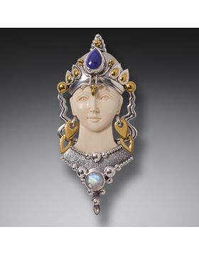 Mammoth Ivory Silver Goddess Jewelry, Handmade - Tara Pendant or Pin