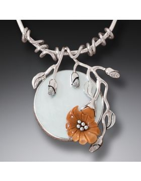 Fossilized Ivory Flower Necklace with Mother of Pearl, Handmade Silver - Moon Flower