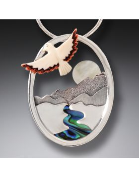 Silver Mother of Pearl Pendant River Necklace with Mammoth Ivory - Aim for the Moon