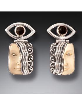 Fossilized Walrus Ivory Earrings, Handmade Silver - Goddess Eye