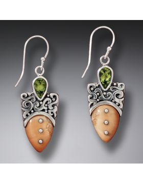 Fossilized Walrus Ivory Silver Shield Earrings with Peridot, Handmade - Shield