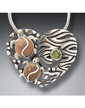 Mammoth Ivory Turtle Heart Necklace with Peridot, Handmade Silver - Two Turtles