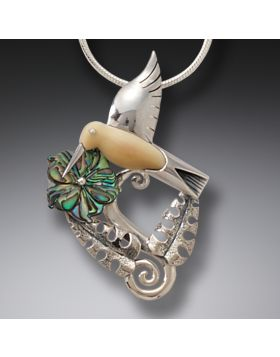 Silver Hummingbird Pendant Necklace Paua Jewelry with Fossilized Walrus Tusk - Hummingbird Garden