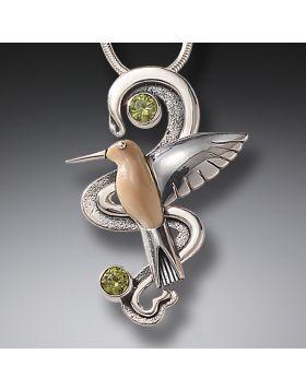 Mammoth Ivory Hummingbird Necklace Silver with Peridot, Handmade Silver - Hummingbird Flight