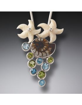 Mammoth Ivory Moroccan Ammonite Starfish Necklace Silver with Peridot and Blue Topaz - Beachcombing