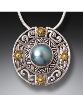 Handmade Silver Mandala Pendant and Mabe Pearl Necklace, 14kt Gold Fill and Handmade Silver - Mandala